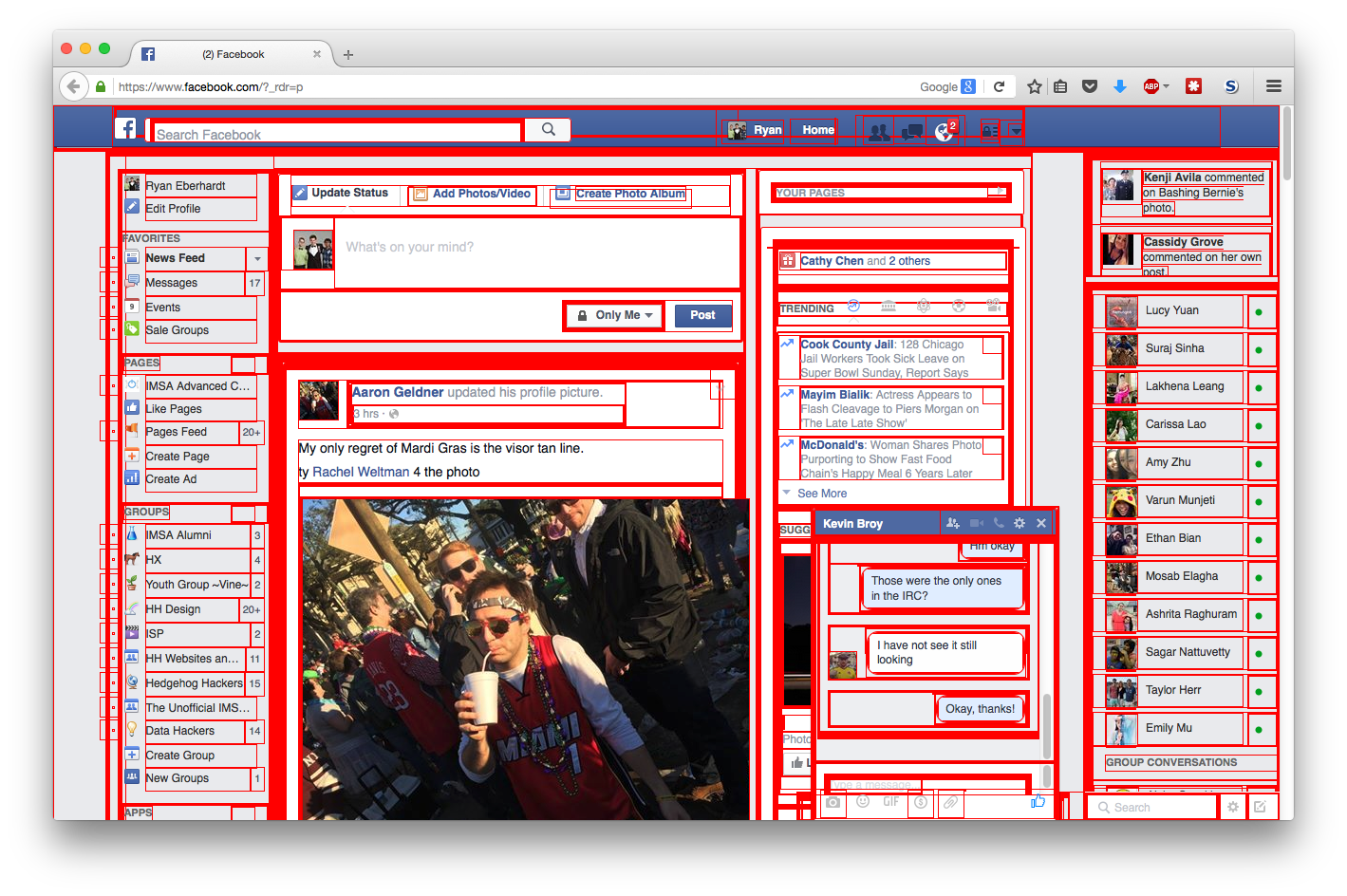 Facebook with all divs outlined in red
