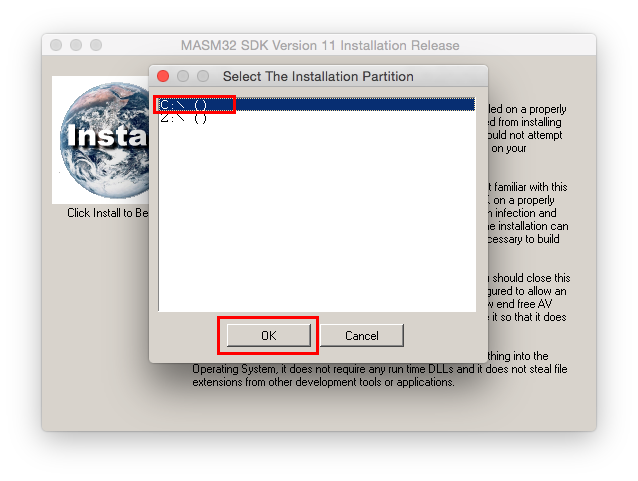 Choose C: as the installation partition